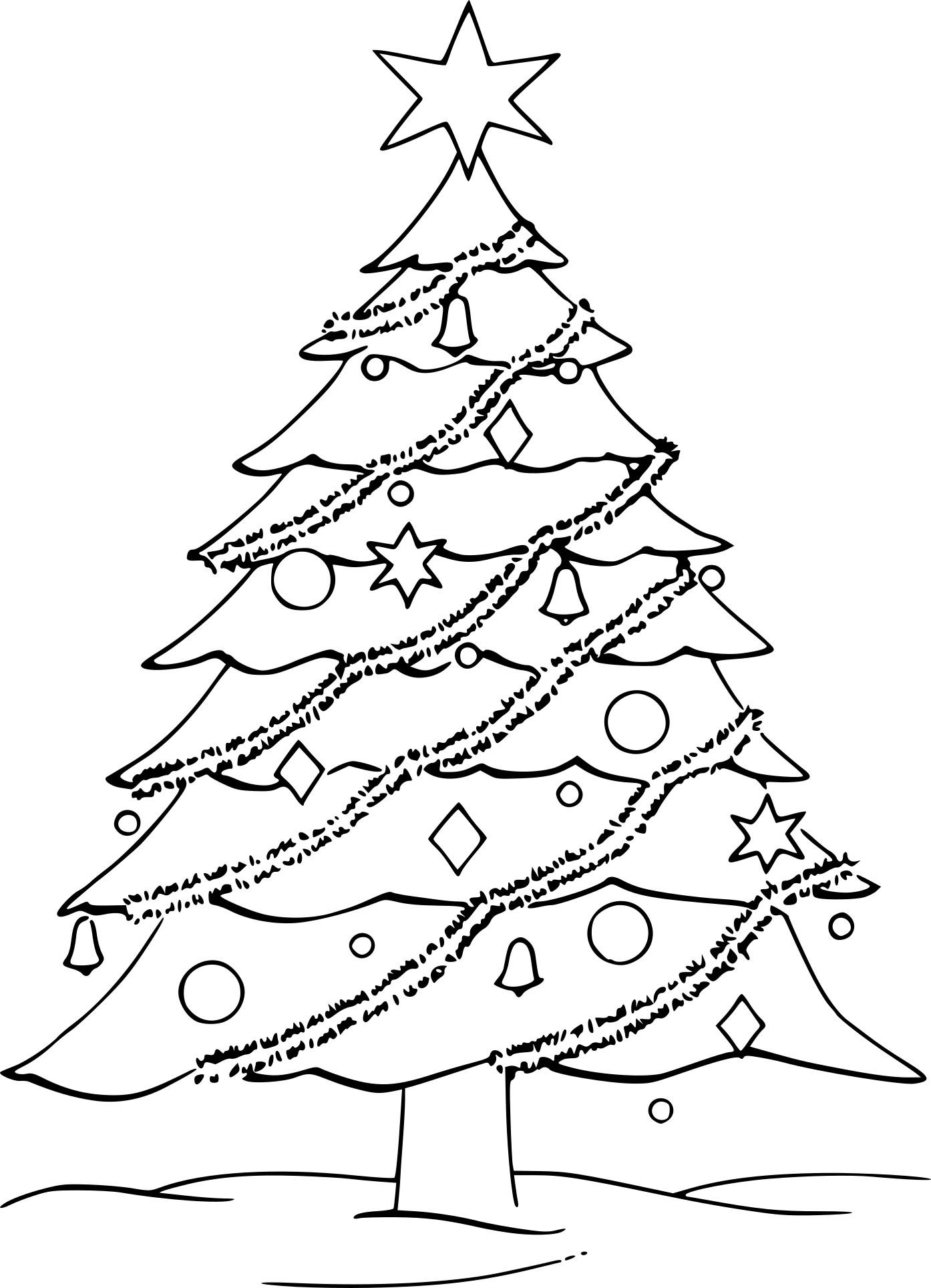 Coloriage Sapin De Noël Avec Des Guirlandes à Imprimer Gratuit