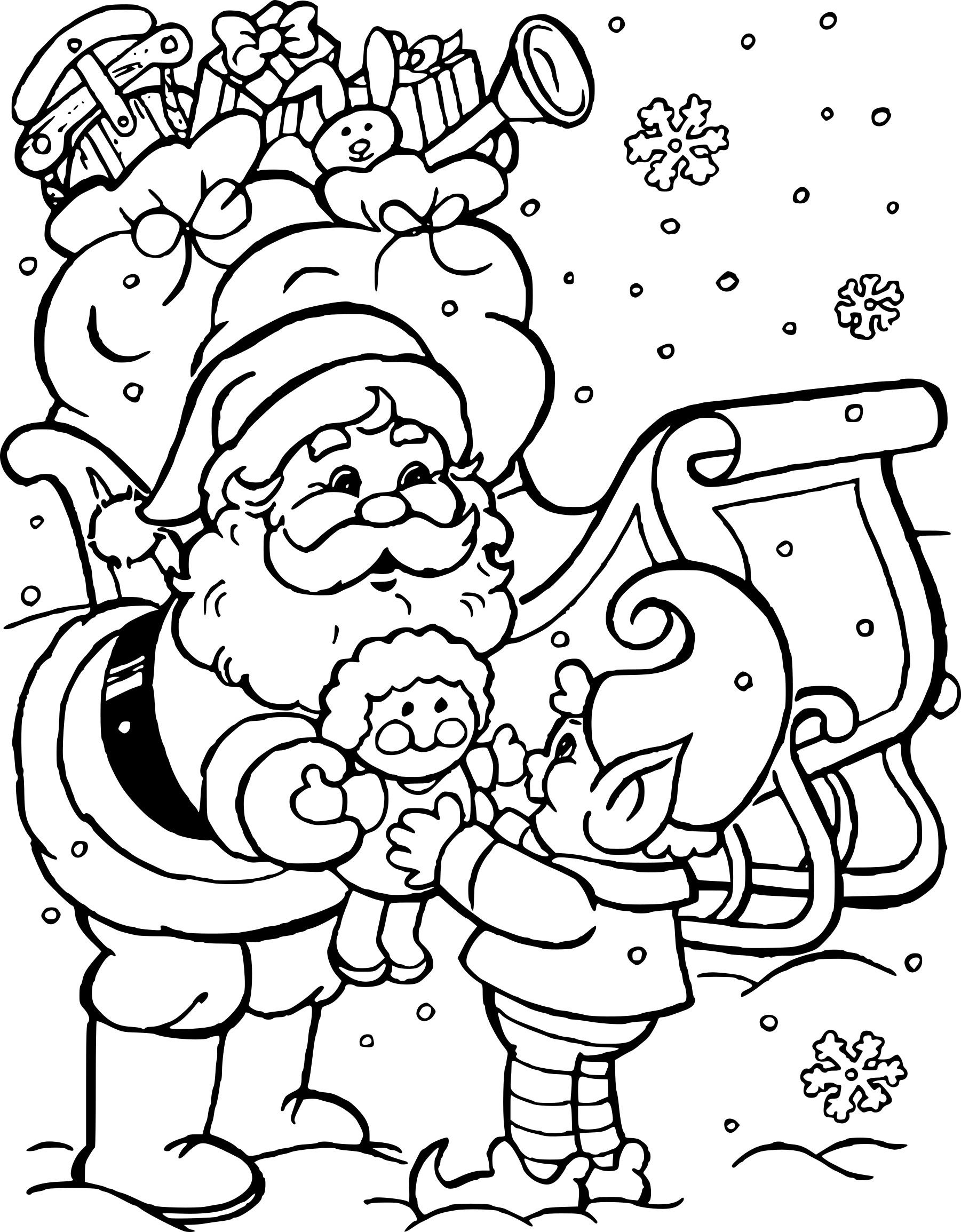 Coloriage Père Noël Et Lutin à Imprimer Gratuit