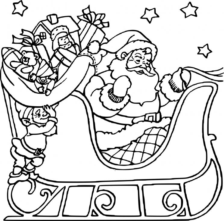 Coloriage Père Noël Et Son Traineau à Imprimer Gratuit