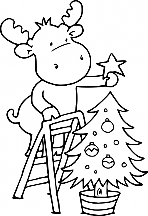 Renne sur un sapin de Noël