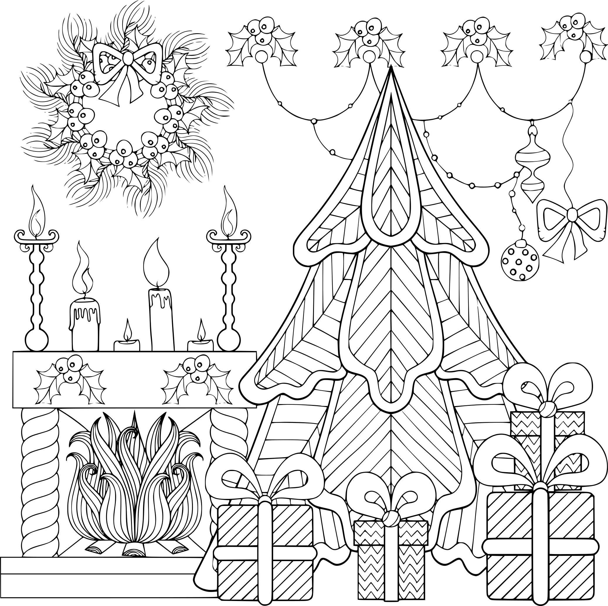 Coloriage Sapin De Noël Et Cheminée à Imprimer Gratuit