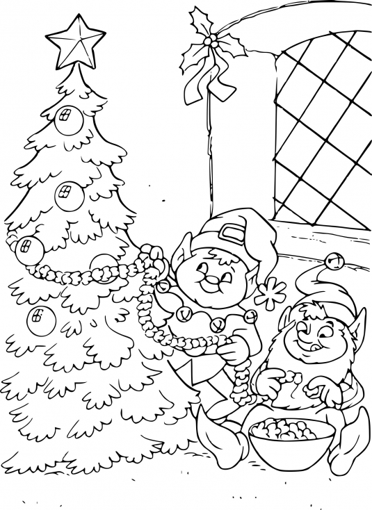 Sapin de Noël et lutins