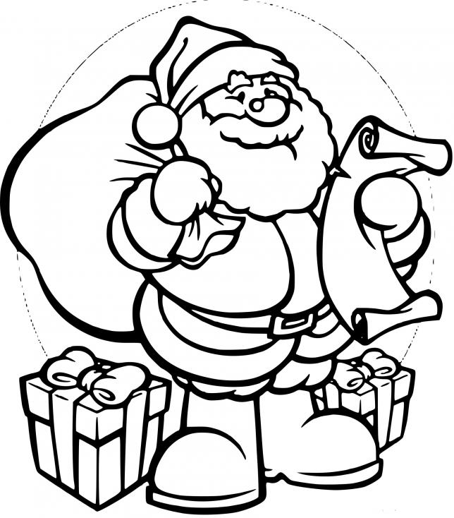 Père Noël apporte les cadeaux