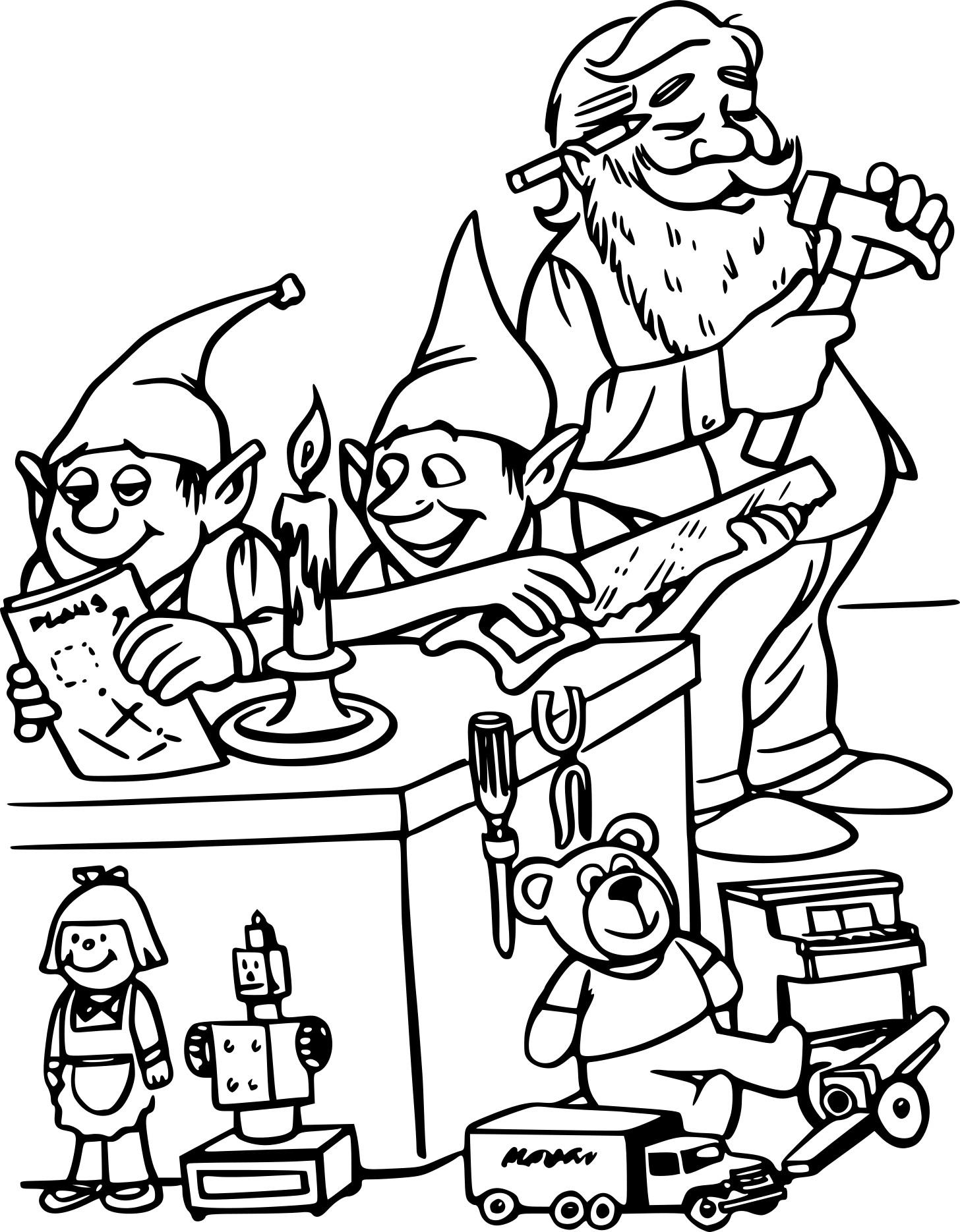 Coloriage Lutins Et Le Père Noël à Imprimer Gratuit