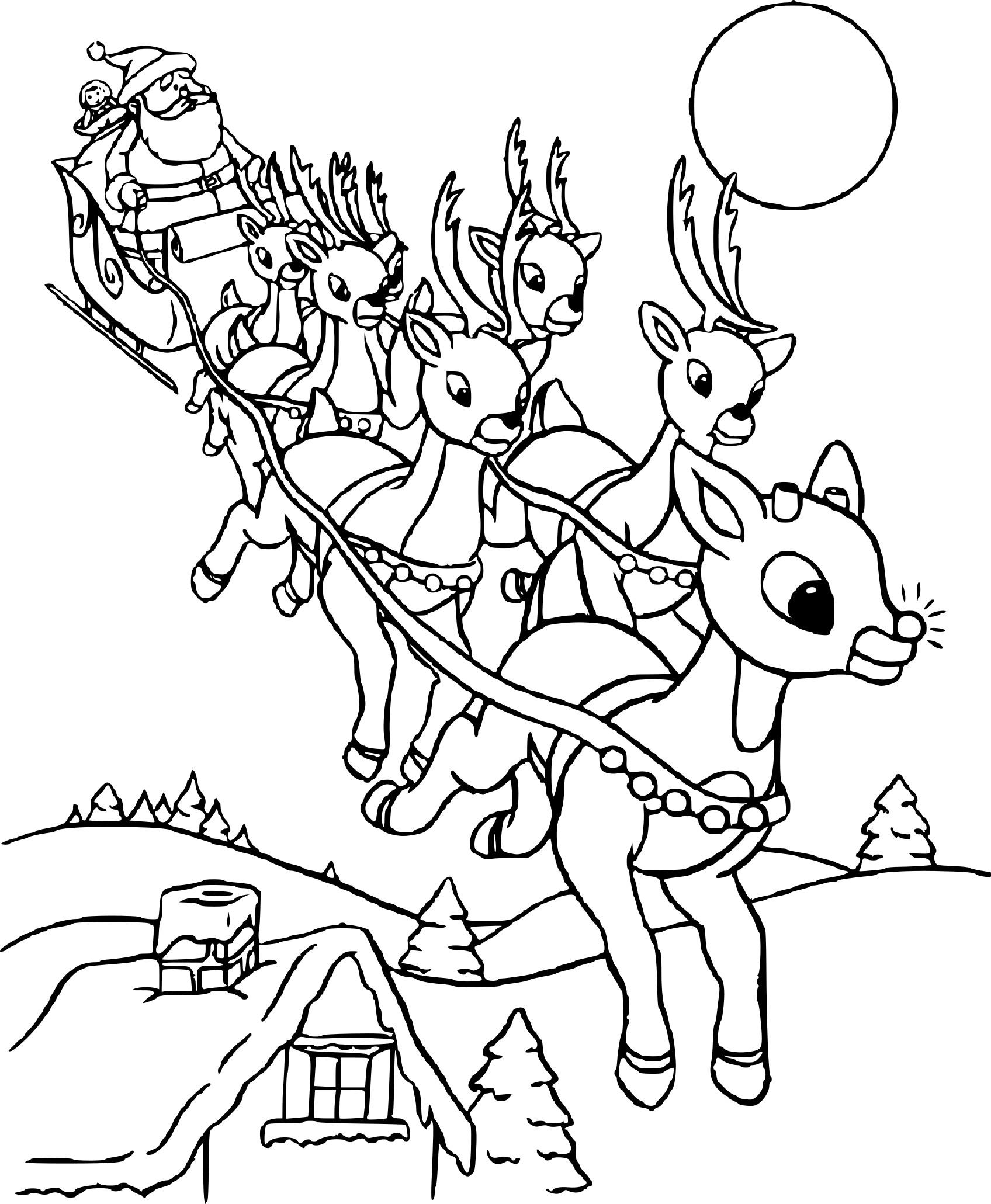 Les Renne Du Pere Noel.Coloriage Rennes Et Le Père Noël à Imprimer Gratuit