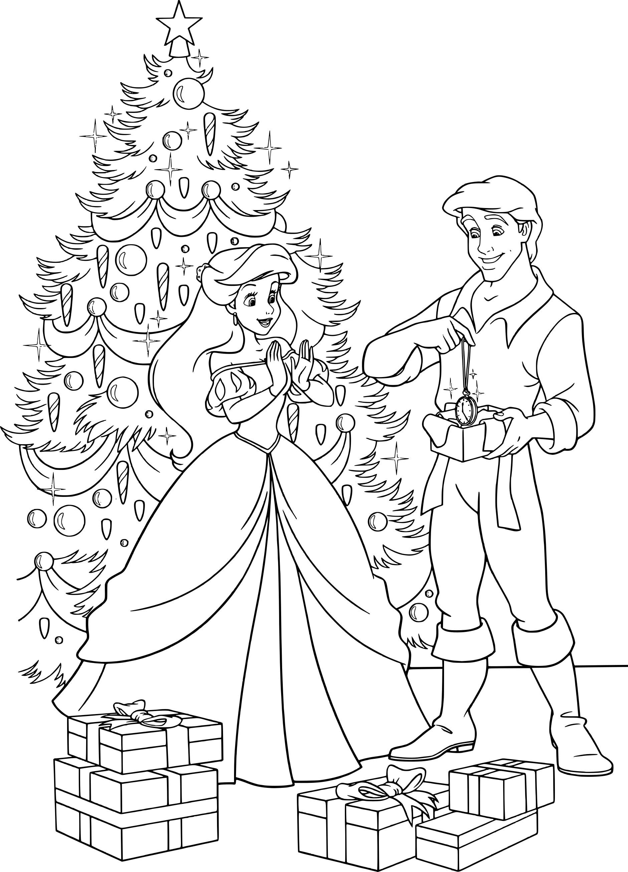 Coloriage Ariel Disney à Noël à Imprimer Gratuit