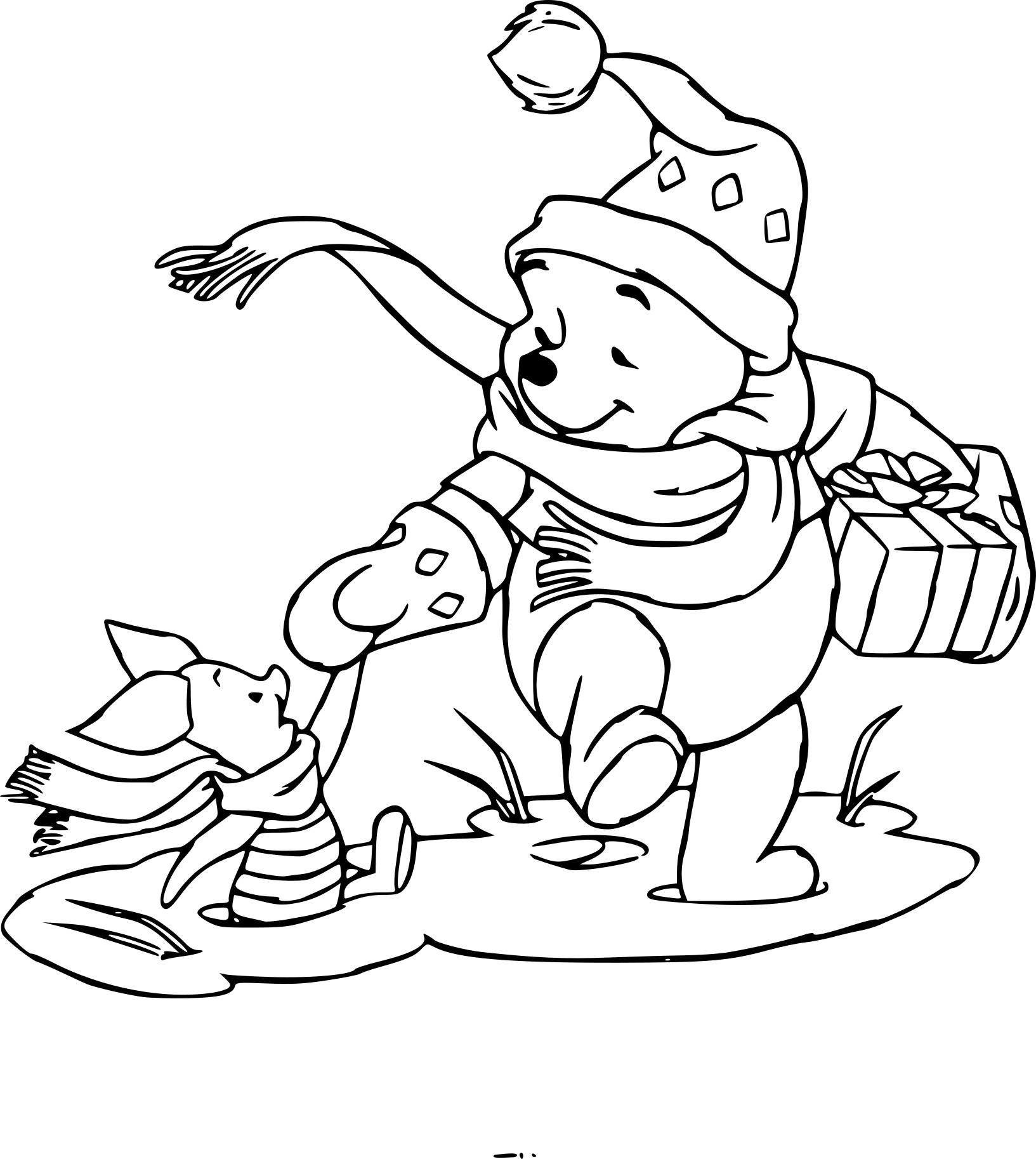 Coloriage Winnie L Ourson à Noël à Imprimer Gratuit