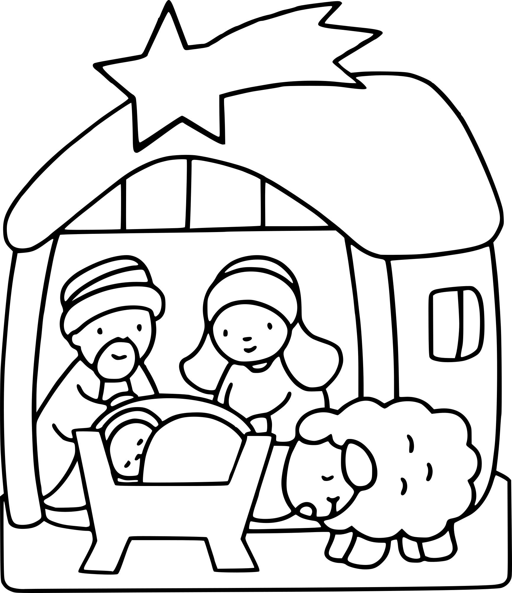 Coloriage Crèche De Noël à Imprimer Gratuit